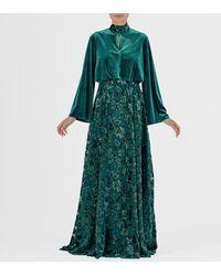 John Paul Ataker Keyhole Back Detailed Velvet Fil-coupe Long Dress - Green