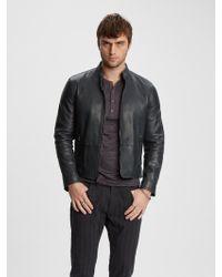 John Varvatos Leather Moto Jacket - Blue