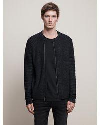 John Varvatos Slim Fit Biker Sweater - Black