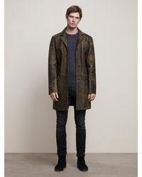John Varvatos Sheepskin 3/4 Length Coat - Brown