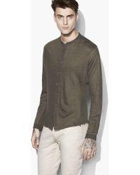 John Varvatos - Linen Band-collar Shirt - Lyst