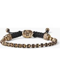 John Varvatos Beaded Brass Skull Bracelet - Metallic