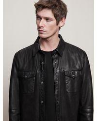 John Varvatos Lionel Leather Shirt Jacket - Black