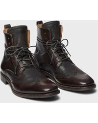 John Varvatos Irving Panelled Wingtip Boot - Brown