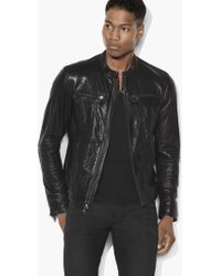 John Varvatos Band Collar Leather Jacket - Black