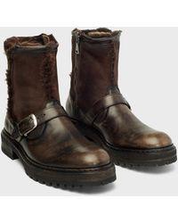 John Varvatos Union Shearling Moto Boot - Brown
