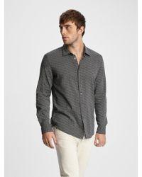 John Varvatos Slim Fit Micro-dot Shirt - Black