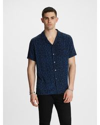 John Varvatos Cameron Camp Collar Shirt - Blue