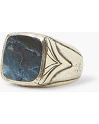 John Varvatos Pietersite & Silver Ring - Blue