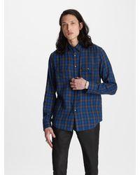 John Varvatos Studded Plaid Shirt - Blue