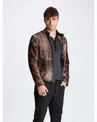 John Varvatos Calf Hair Moto Jacket - Brown
