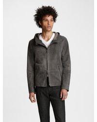John Varvatos Hooded Leather Jacket - Grey