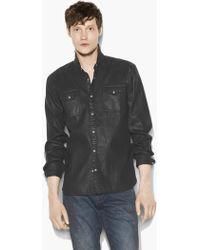 John Varvatos - Coated Cotton Western Shirt - Lyst
