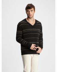 John Varvatos Easy-fit Jacquard Stripe Sweater - Black