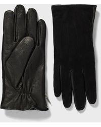 John Varvatos Leather & Suede Side Zip Glove - Black