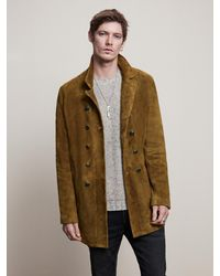 John Varvatos Hairy Suede Double Breasted Coat - Multicolor