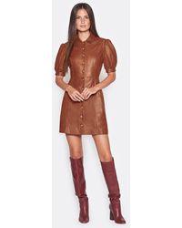 Joie Fidal Leather Dress - Brown