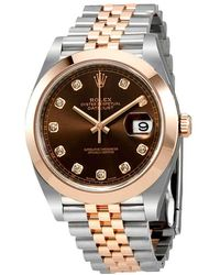 Rolex Datejust 41 Chocolate Diamond Dial Steel And 18k Everose Gold Jubilee Mens Watch - Multicolor