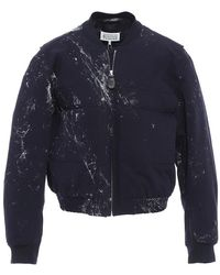Maison Margiela Mens Navy Cut-out Bomber Jacket, Brand - Blue