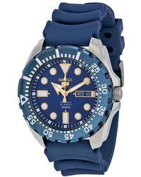Seiko Diver Automatic Blue Dial Blue Rubber Mens Watch
