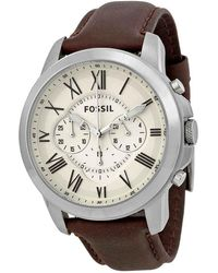 Fossil Grant Chronograph Cream Dial Mens Watch - Metallic