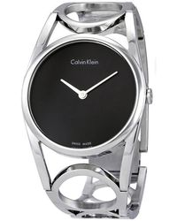 Calvin Klein Round Black Dial Stainless Steel Watch - Metallic