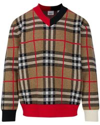 Burberry Mens Check Merio Wool Jacquard Jumper - Brown