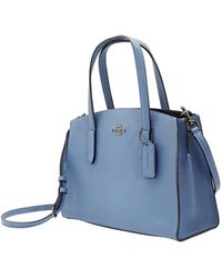 COACH Ladies Charlie Carryall 28 In Blue Pebbled Leather