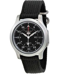 Seiko 5 Black Dial Black Canvas Automatic Mens Watch