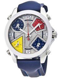 Jacob & Co Jacob And Co. Five Time Zone Silver Dial Diamond Mens Watch -57da - Blue