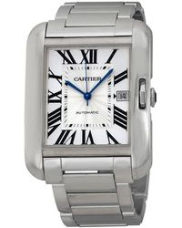 Cartier Tortue Xxl Multiple Time Zone Manual Wind 18 Kt White Gold Mens Watch - Metallic