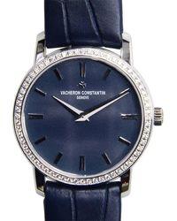 Vacheron Constantin Traditionnelle Blue Dial Diamond Ladies Watch 25558000g-9758
