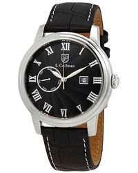 S. Coifman Black Dial Black Leather Watch