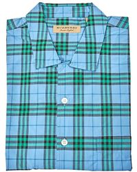 Burberry Mens Woven Check Blue Agate Gingham Floral Short-sleeve Shirt