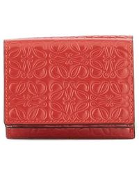 Loewe Repeat Red Anagram Embossed Wallet