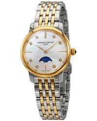 Frederique Constant Slimline Mother Of Pearl Diamond Dial Ladies Watch -206mpwd1s3b - Metallic
