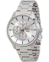 Seiko - Chronograph Silver Dial Stainless Steel Mens Watch - Lyst