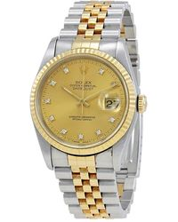 Rolex Pre-owned Champagne Diamond 18k Yellow Gold & Steel Mens Watch - Metallic