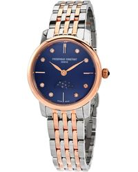 Frederique Constant Slimline Moon Phase Diamond Blue Dial Ladies Watch -206nd1s2b - Multicolor