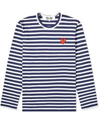 Comme des Garçons Play Navy / White Long Sleeve Heart Logo Stripe Tee, Brand - Blue