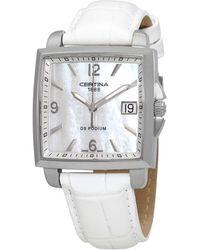 Certina Ds Podium Quartz White Mother Of Pearl Dial Watch - Metallic