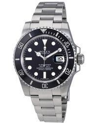 Rolex Pre-owned Oyster Perpetual Submariner Black Dial Black Cerachrom Bezel Steel Mens Watch - Multicolour