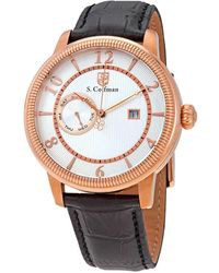 S. Coifman Silver Dial Black Leather Mens Watch - Metallic