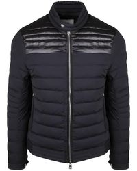 Moncler Mens Down Quilted Stretch Nylon Biker Jacket In Black, Brand