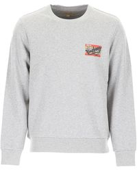 Burberry Crew-neck Cotton Sweatshirt With Ticket And Graffiti Print - Grey