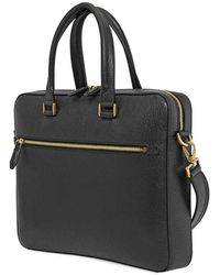 Ferragamo Logo Embossed Business Bag - Black