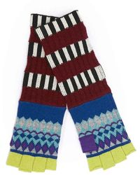 Burberry Striped Fair Isle Cashmere Wool Fingerless Gloves - Blue