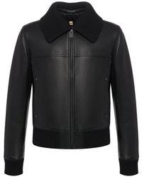 Burberry Detachable Collar Lambskin Bomber Jacket - Black
