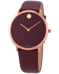 Movado - Modern 47 Quartz Bordeaux Dial Watch - Lyst