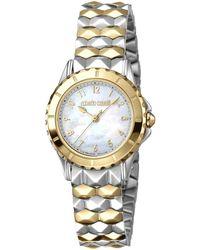 Roberto Cavalli Quartz White Dial Ladies Watch - Metallic